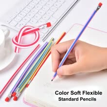 pens-Cute Candy Color Soft Flexible Standard Pencils Korea Kawaii Folding Pencil with Eraser School Stationery Creative kids toy on JD
