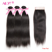 Alot Hair Peruvian Straight Human Hair Bundles With Lace Closure Middle/Free/ Three Part Natural Black 3 Bundles Hair & Closure