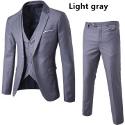AOWOFS  New European Slim Business Casual Suits three-piece Sports Coat Vest Suit Pant Groom Groomsmen wedding one button suits S-6XL
