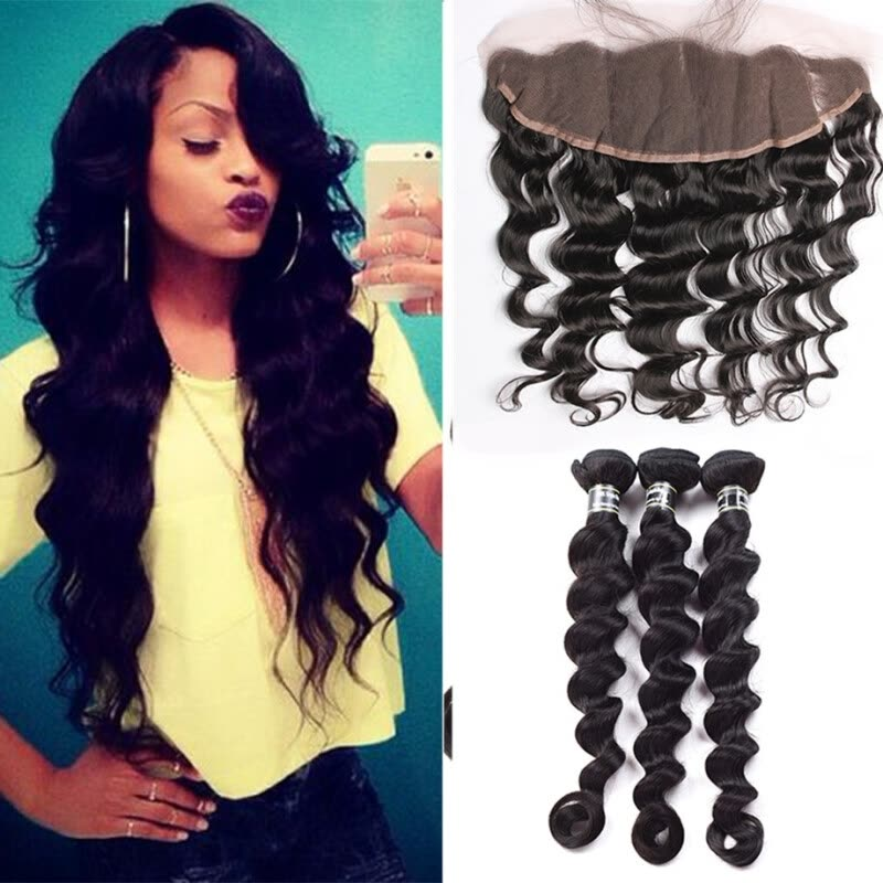 Amazing Star Brazilian Virgin Hair Loose Wave with Frontal Closure 3 Bundles with Lace Frontal Loose Wave Hair Nice Hair Thick