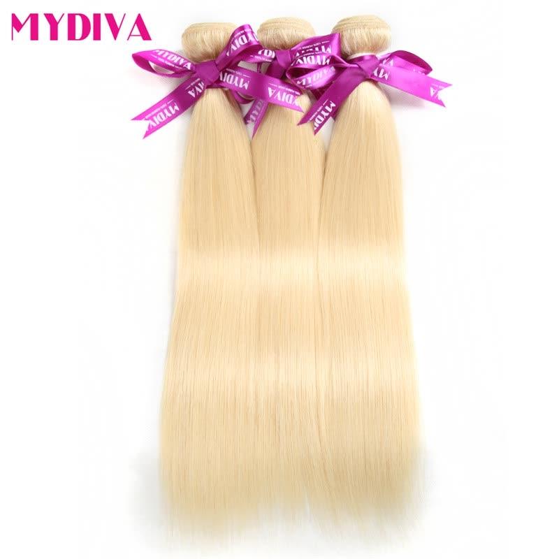 Mydiva 613 Blonde Virgin Hair Straight 3 Bundles Blonde Brazilian