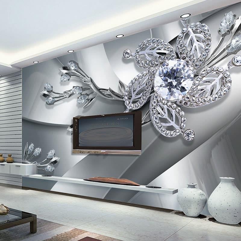 Custom Any Size 3D Wall Mural Wallpaper Diamond Flower Patterns Background Modern Art Large Painting