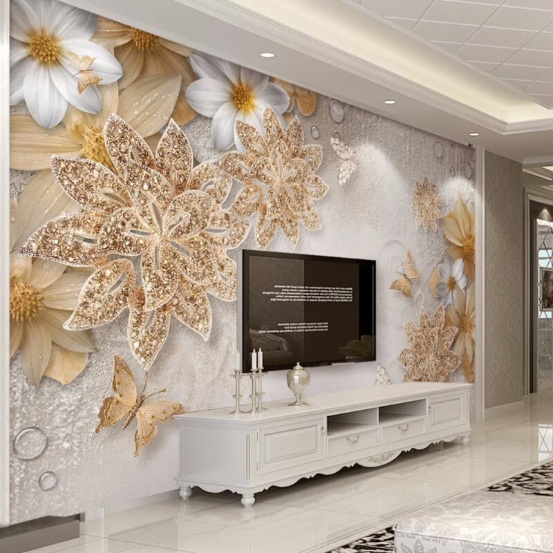 Custom Mural Wallpaper For Bedroom Walls 3D Luxury Gold Jewelry Flower Butterfly Background Wall Papers Home & Shop Custom Mural Wallpaper For Bedroom Walls 3D Luxury Gold Jewelry ...