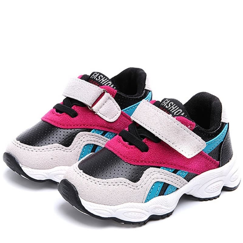 Children Winter New Boy And Girl Shoes Fashion Sports Round Toe Velcro Color Matching