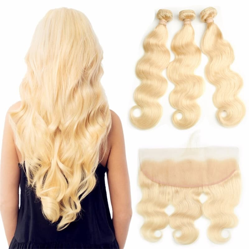 Hcdiva Hair Blonde Body Wave Lace Frontal Closure With 3 Bundle