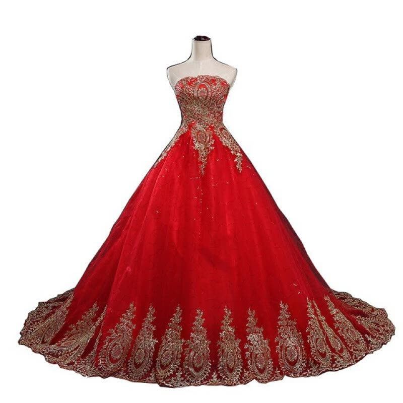 Shop 2018 New Ball Gown Lace Tulle Red Wedding Dress with tail ...