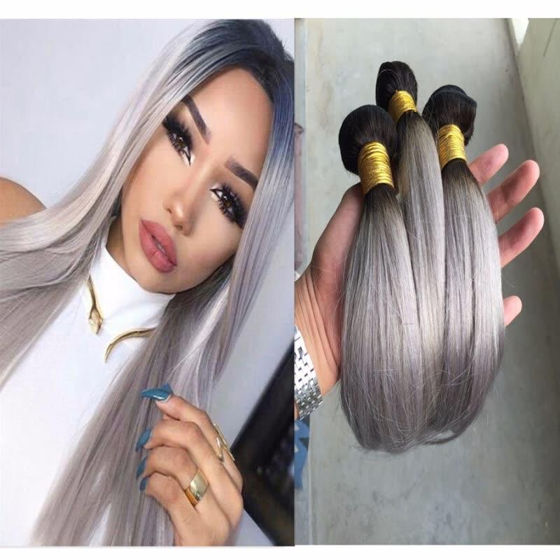 Shop 3 Pcs 8a Human Virgin Ombre Peruvian Hair Straight Grey Hair