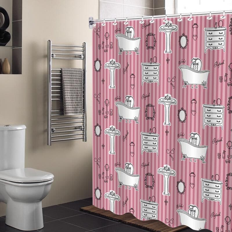 Qing Wei Waterproof Polyester Shower Curtain Princess Complex 180