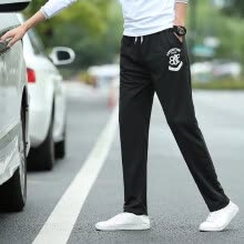 -Korean Style Letter Print Straight Pants Fashion Casual Drawstring Men's Thin Pants on JD