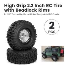 -2PCS High Grip 2.2 Inch RC Rubber Tire Alloy Beadlock Rims Wheel Upgrade Parts for Traxxas Hsp Redcat Rc4wd Tamiya Axial scx10 D90 on JD