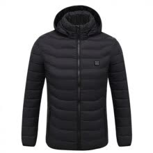 -Men Long Sleeve Zip USB Electric Heating Cotton Coat Outdoor Warm Hooded Jacket on JD