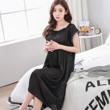 -Sexy Home Style Nightdress For Women Short Sleeve Long Dress Underwear 11 Color O-neck Lingerie Night Gown on JD
