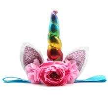 -Kids Party Unicorn Horn Headband Flower Horn Girls Headwear Birthday Hairband Hair Accessories  Vogue on JD