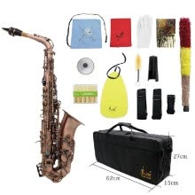 -Professional Red Bronze Bend Eb E-flat Alto Saxophone Sax Abalone Shell Key Carve Pattern with Case Gloves Cleaning Cloth Straps B on JD