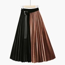 -Fashion Skirt Autumn Gold Velvet Skirts Womens Color Matching High Waist Skirts Long Pleated Skirt Faldas Mujer Moda on JD