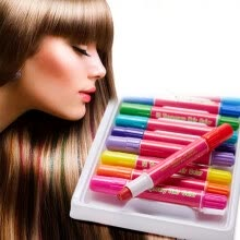 -12 Colors Disposable Hair Dye Stick Rotating Blendable Washable Temporary Crayon on JD