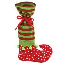 -Red and Green Christmas Stocking Gifts Socks Elf Style Long Candy Socks on JD