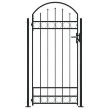 -vidaXL Fence Gate with Arched Top and 2 Posts 100x200 cm Black  145751 on JD