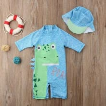 outerwear-Baby Boy Girl Kid Dinosaur Surfing Swimsuit Swimming Costume with Hat Clothes Outfits ZH on JD
