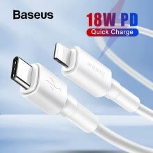 -[Biggest Sale] Baseus PD 18W Quick Charge Type-C to lighting PD Cable for iPhone 11 Pro Max, QC 3.0 Cable for Macbook Data wire on JD