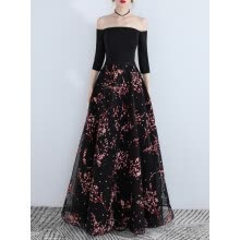 -Women's Full Dress Ladylike Slash Neck Slim Fit Floral Printed Organza Party Maxi Long Dress on JD