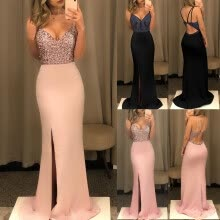 evening-dresses-Women Formal Sequin Bandage Backless Long Maxi Dress Party Ball Gown Wedding New Fashional Dress on JD