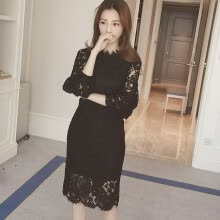 -〖Follure〗Plus Size Fashion Women Casual Long Sleeve O-Neck Floral Lace Slim Long Wrap Dress on JD