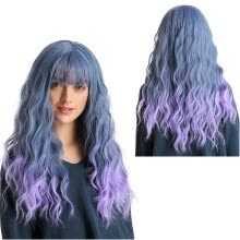 -[Firstdream Store]High Quality Sexy Fashion Gradient Long Curly Wig Humen Hair Party Synthetic Wig on JD