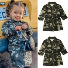 coats-Toddlers Girl Long Sleeve Trench Casual Camouflage Jacket Knee Coat Outwear on JD