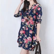 -Women Vintage Floral Long Sleeve V-Neck Casual Dress Pregnant  Maternity Linen Dresses M-XXL PY1 on JD