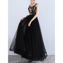 -Women's Full Dress Elegant Floral Embroidery Organza Party Maxi Long Slip Dress on JD