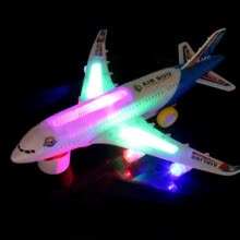 -New Light Music Universal Airbus A380 Plane Model Flashing Sound Electric Airplane Children Kids Toys Gifts Automatic Steering on JD