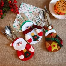 -Christmas Xmas Decor Santa Kitchen Tableware Holder Pocket Dinner Bag on JD