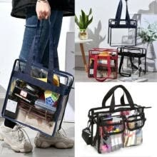 -Women Clear Tote Vinyl Plastic PVC Shoulder Bag Beauty Makeup Bag Large Capacity Handbag on JD