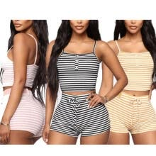-Women Striped Two-piece Outfit Short Vest with Decorative Button Tie Waist Shorts Casual Style Clothes on JD