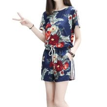 -2018 Female Summer New Printed Large Size Slim Short Sleeves O-Neck T-Shirt and Wide Leg Elastic Waist Shorts Women Sets S-XXXL on JD