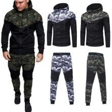 -Men´s Tracksuit Hoodies Sweatshirt Pants Sets Sport Wear Zipper Casual 2Pcs Suit Hot Sale on JD