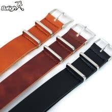 -Men Genuine Leather Military Watch Strap (3 Rings) Design Band stainless steel Buckle Watchband 18-22mm on JD