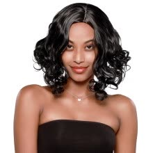 one-pack-hair-DianXing Fashion Women Brazilian Short Straight Bobo Wig Front Hair Side-parted Wigs on JD