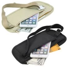 -New Travel Waist Pouch for Passport Money Belt Bag Hidden Security Wallet Black on JD