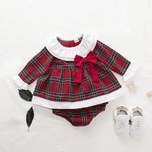 -princess dress Baby Girl Christmas Plaid soft cotton  fabrics Long Sleeve Bow Decoration Top Underpants Two Pieces Sets 0-18M on JD