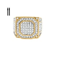 -Square Stainless Steel Mens Ring Rhinestone Crystal Silver Color Gold on JD