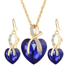 -Fashion Heart Shape Artificial Crystal Pendant Necklace + Earring Alloy Rhinestone Women Jewelry Set Color:blue on JD