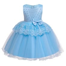 -ZR-Kids Girls Party Wedding Bead Lace Floral Sleeveless Dress Children Pageant Formal Princess Dresses With Bowknot t on JD