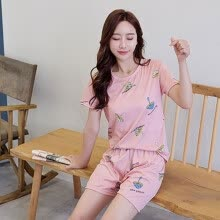-Mushroom Print Pink Summer Top With Shorts Pajama Set Ladies Short Sleeve Cute Pajama Set 2019 New Stretchy Pajama Set Nightwear on JD