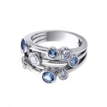 -Elegant 925 Silver Rings Women Jewelry Blue Sapphire Wedding Ring on JD