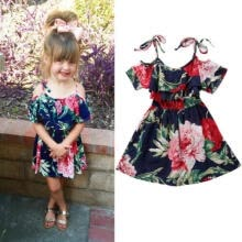 -UK Stock Baby Girls Off-shoulder Skater Dress Kids Floral Summer Party Dresses on JD