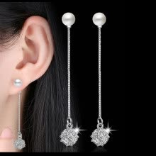 9370bdf64 Classic Long Drop Earrings Bridal Party Wedding Jewelry for Women CZ Crystal  Imitation Pearl Exaggerated Eardrop WHK44