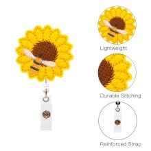 -NewDesign Sunflower Badge Reel Holder Accurate Stitching Strap Telescopic Retracting Clip on JD