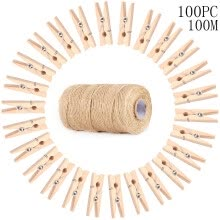 -Garden Rope 100PC Wood Clothespin 3.5CM  100M Natural Craft Rope Jute Rope on JD